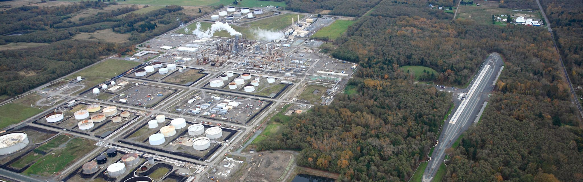Daytime arial shot of the Ferndale Refinery