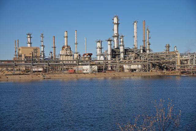 Ponca City Refinery with Arkansas River in foreground