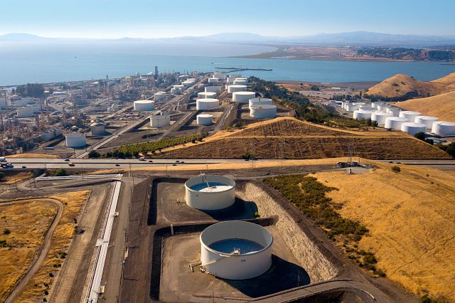 Arial shot of San Francisco Refinery with San Pablo Bay in background