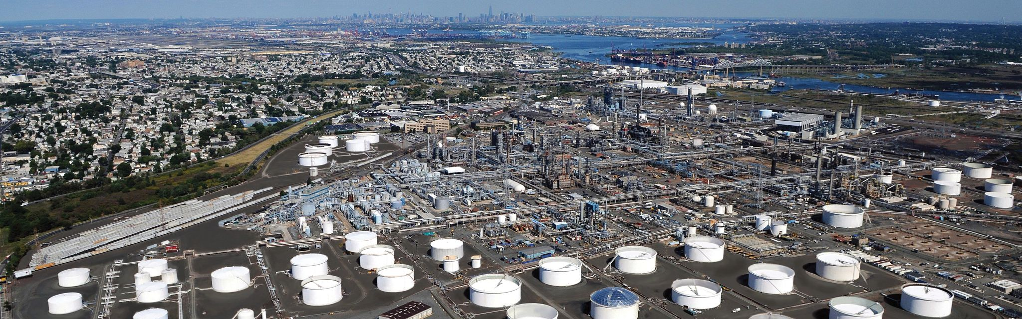 Arial shot of Bayway Refinery and Linden, NJ