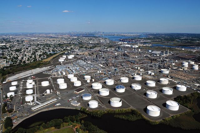 Arial shot of Bayway Refinery with blue skies