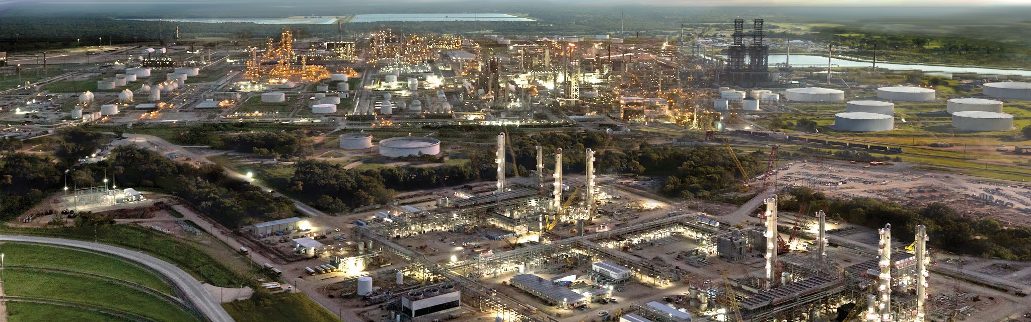 Early morning shot of the Sweeny Refinery, still lit up