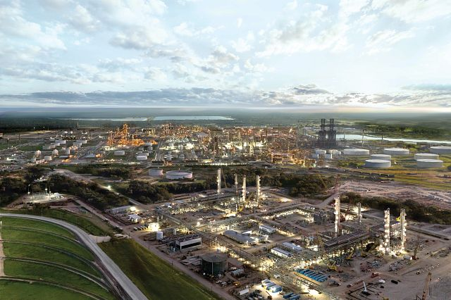 Sweeny Refinery just after sunrise with lights still on